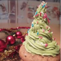 karácsonyfa süti cupcake