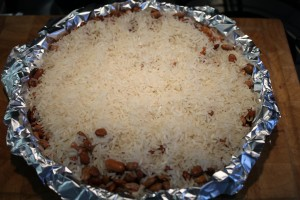 Pate brisee pitetészta vakon sütése babbal és rizzsel