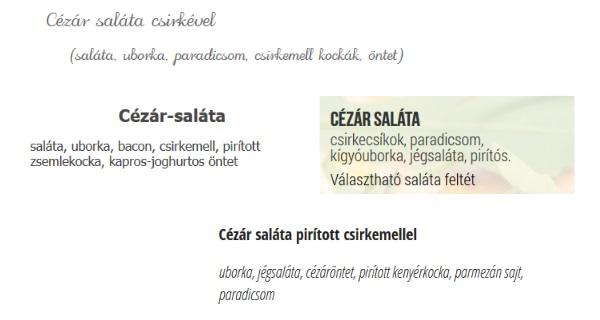 Cézár saláta étlap példa
