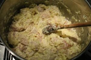 Hagyma és pácolt csirkemell