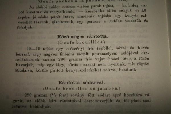 A közönséges rántotta receptje Dobos C. József híres szakácskönyvéből
