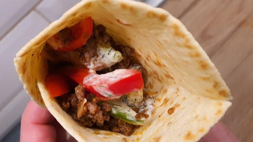 Mexikói darált húsos tortilla közelről